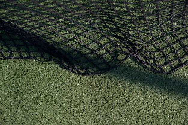 Top view tennis net on the tennis court