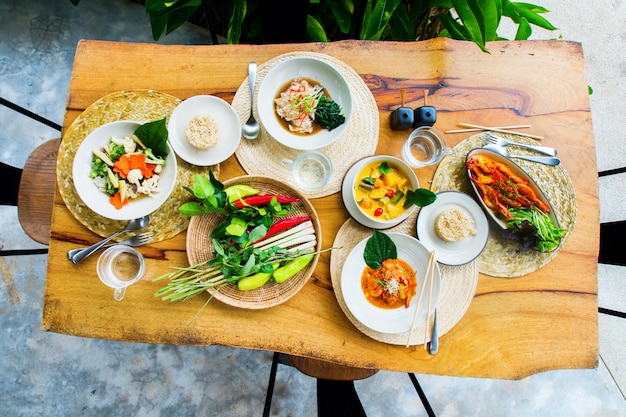 Top view thai traditional cuisine restaurant food