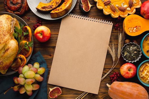 Top view of thanksgiving concept with copy space