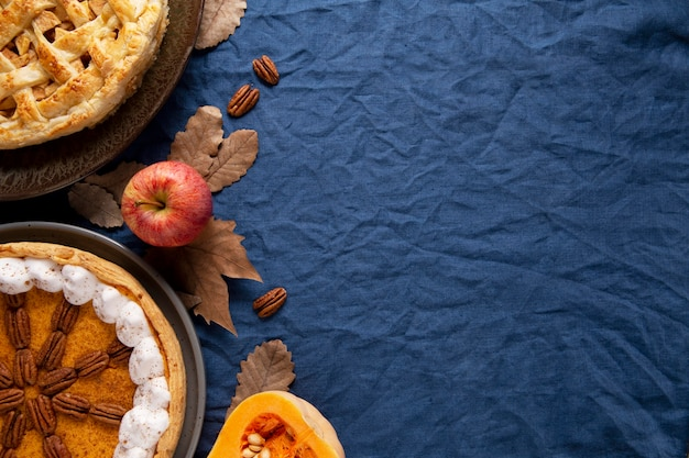 Top view thanksgiving food border with copy space