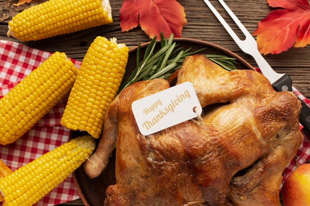 Top view thanksgiving meal with turkey and corn