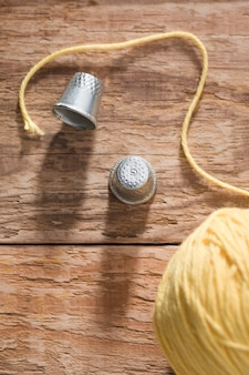 Top view of thimbles and thread
