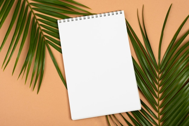 Top view of thin plant leaves with notebook