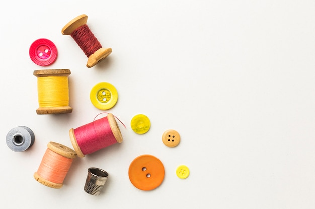 Top view of thread with copy space and thimble