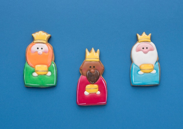 Top view of three kings for epiphany day