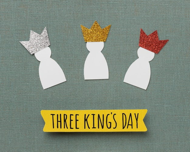 Top view of three paper kings for epiphany day
