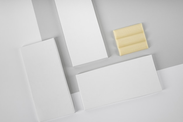 Top view of three white chocolate tablets packaging