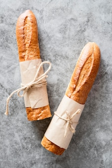 Top view tied baguettes