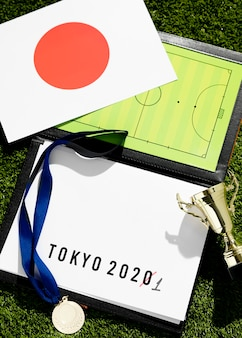 Top view tokyo 2020 sports event postponed assortment