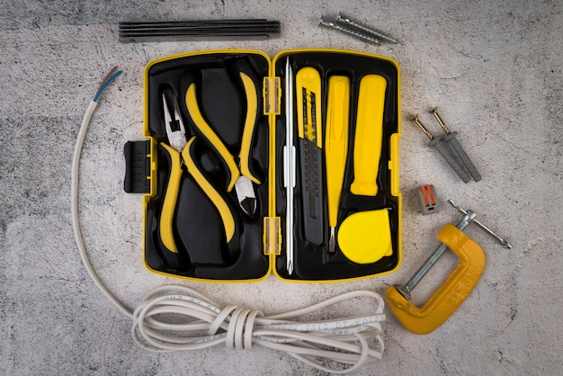 Top view toolbox with yellow tools