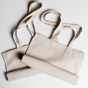 Top view tote bags arrangement