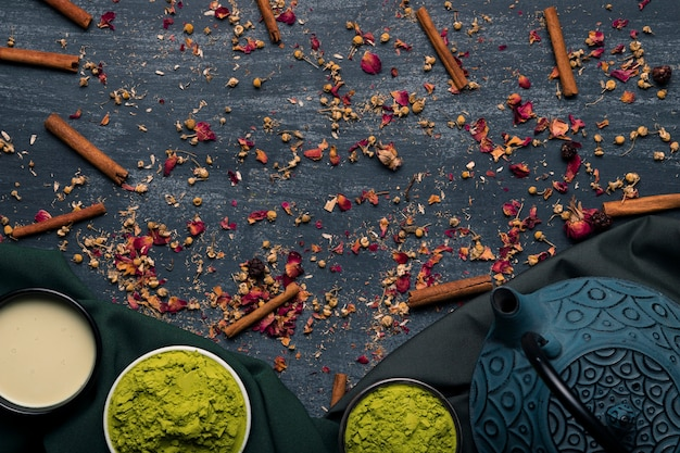 Top view traditional asian tea matcha with teapot