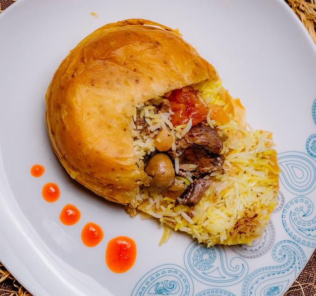 Top view a traditional azerbaijani dish shah pilaf