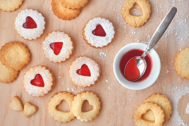 Top view of traditional christmas linzer cookies