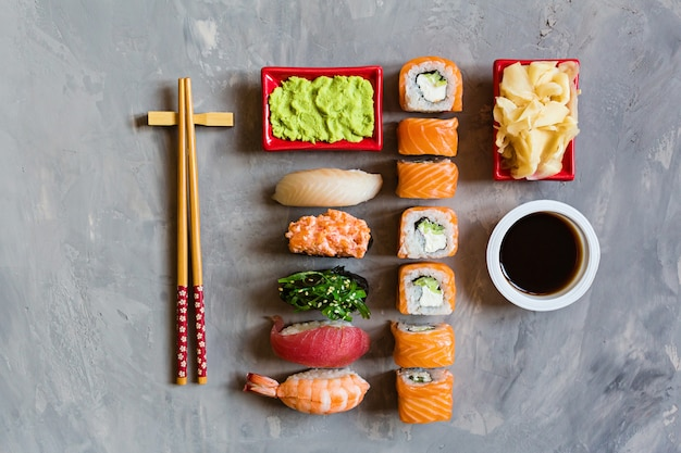 Top view on traditional japanese sushi