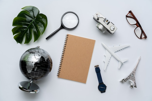 Top view of travel concept still life photography