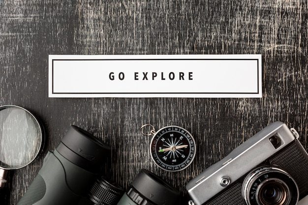 Top view travel kit elements with mock-up