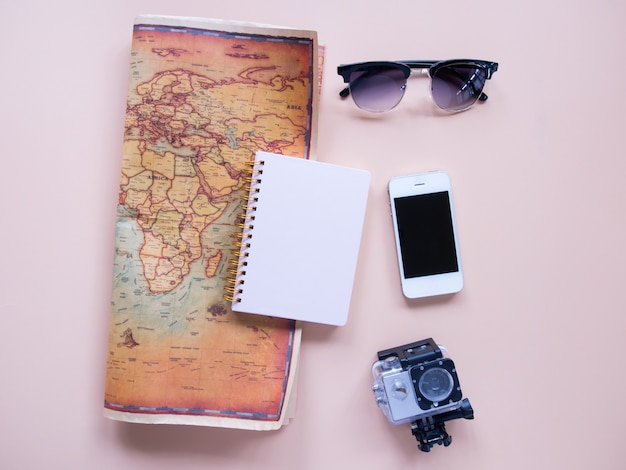 Top view of travel planning.