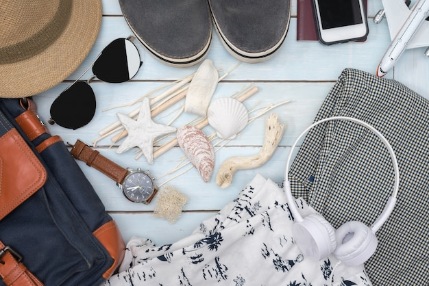 Top view of traveler men's outfit and accessories