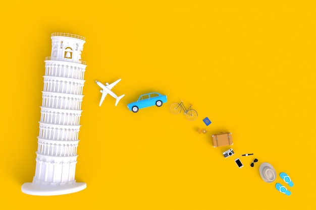 Top view of traveler's accessories abstract minimal yellow background