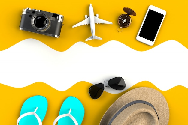 Top view of traveler's accessories, essential vacation items, travel concept, 3d rendering