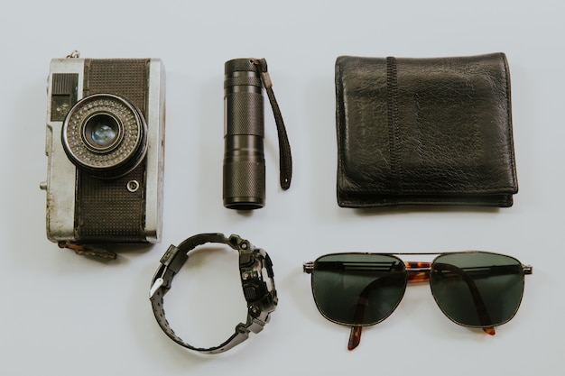 Top view of traveler's accessories, flat lay photography of travel concept.