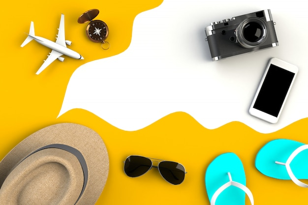 Top view of traveler's accessories on yellow table background