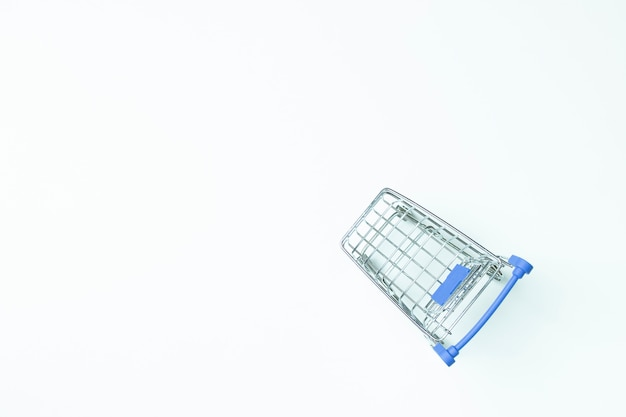 Top view trolly cart on white background