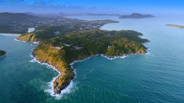 Top view tropical island , aerial view of promthep cape phuket, thailand.