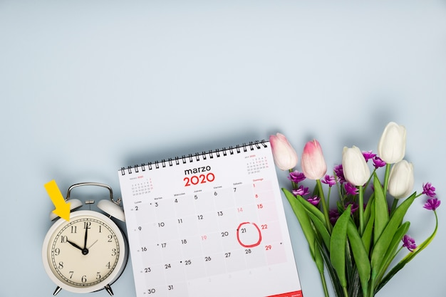 Top view tulips beside calendar and clock
