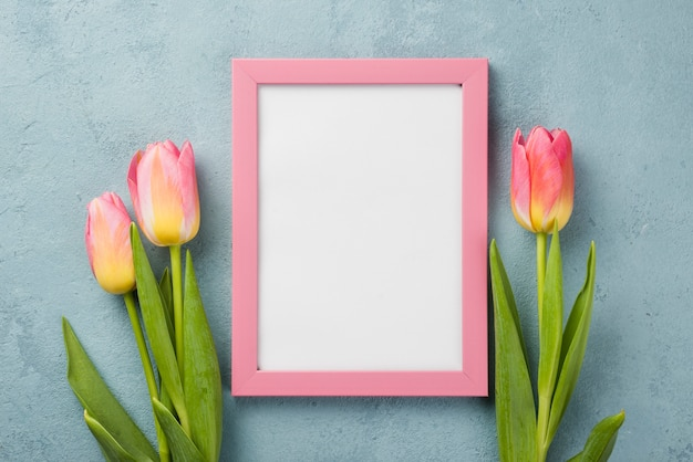 Top view tulips with frame on table