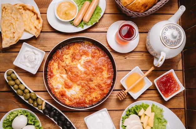 Top view of turkish breakfast setup