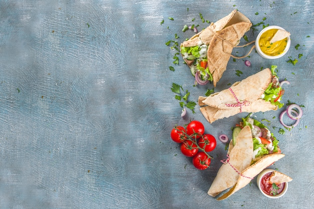 Top view turkish kebab wrap