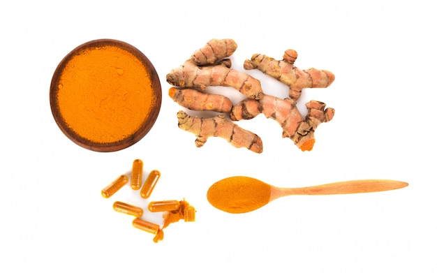Top view of turmeric  isolated.