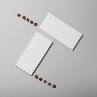 Top view of two blank chocolate tablets packaging with chocolate chips