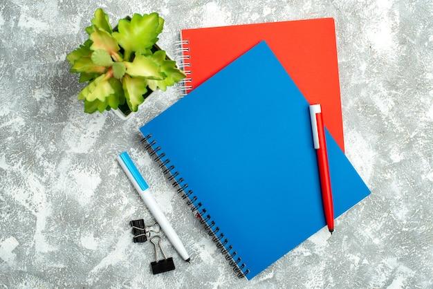 Vista dall'alto di due quaderni chiusi colorati con penna e vaso di fiori su sfondo grigio
