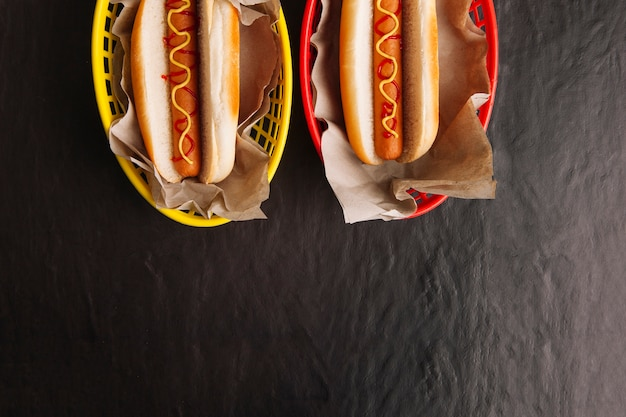 Top view of two hot dogs