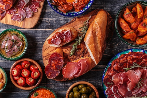Top view of typical spanish tapas