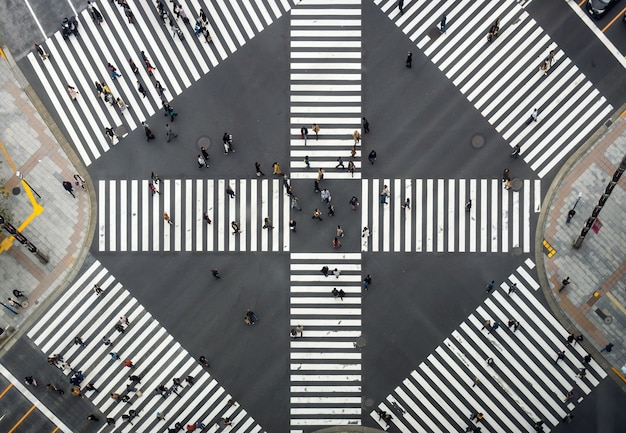 Top view of undefined japanese people crowd