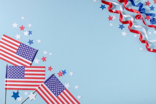 Top view usa flags and stars with copy-space