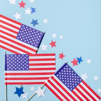 Top view usa flags and stars