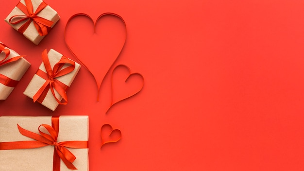 Top view of valentine's day concept with copy space
