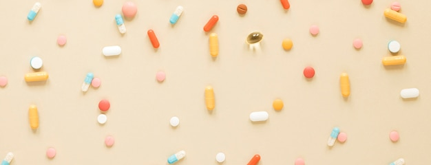 Top view variety of colorful painkillers