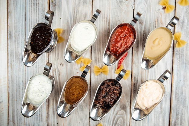 Top view on variety of different sauces