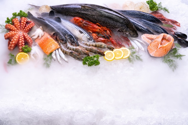 Top view variety of fresh luxury seafood  on ice background with icy smoke in seafood market