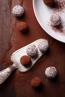 Top view of various chocolates