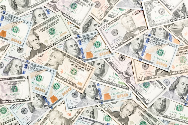 Top view of various dollar cash background