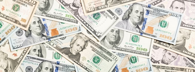 Top view of various dollar cash