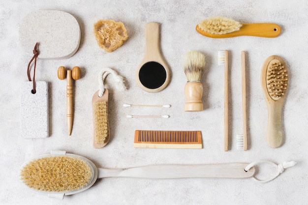 Top view various natural hair brushes and accessories