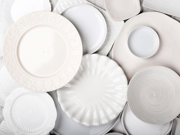 上面図セラミック広告用のさまざまなサイズの食品小道具丸い白いプレート